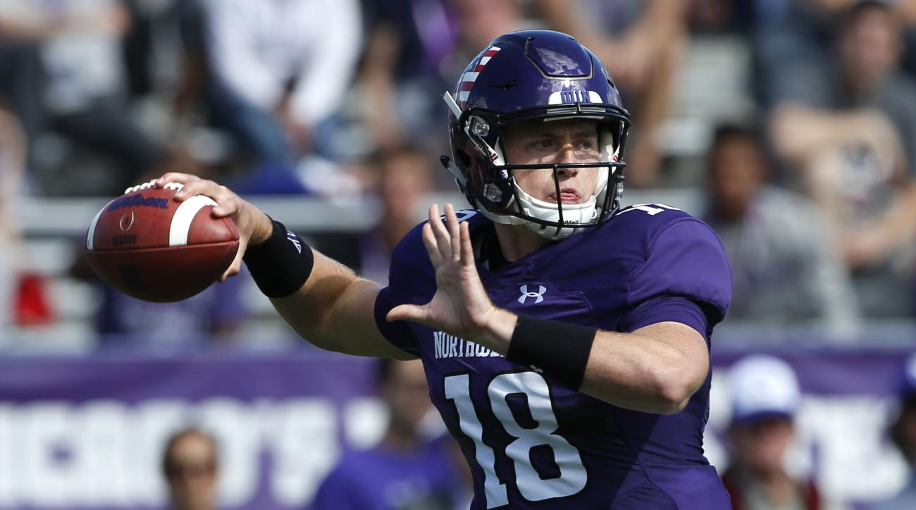 Northwestern quarterback Clayton Thorson looks to pass against Illinois State during the first half of an NCAA college football game in Evanston, Ill., Saturday, Sept. 10, 2016. (AP Photo/Nam Y. Huh)