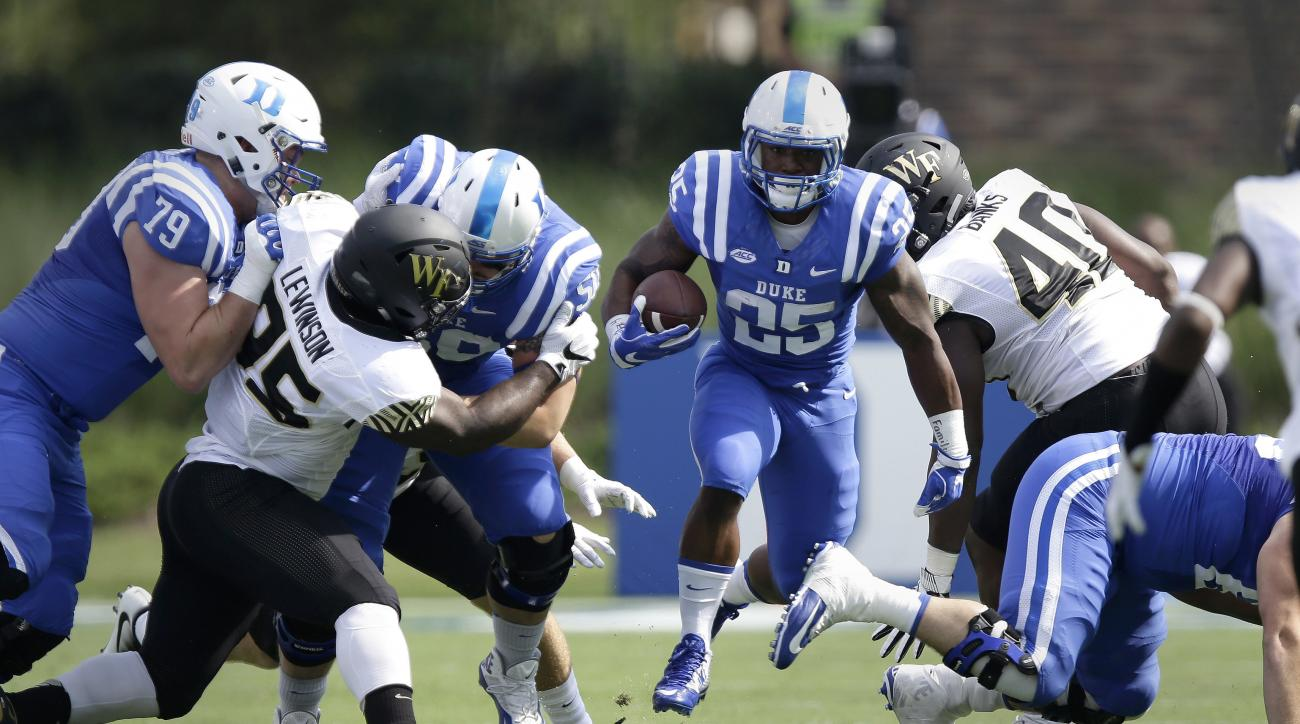 Duke's Jela Duncan (25) finds some running room against Wake Forest during the first half of an NCAA college football game in Durham, N.C., Saturday, Sept. 10, 2016. (AP Photo/Gerry Broome)