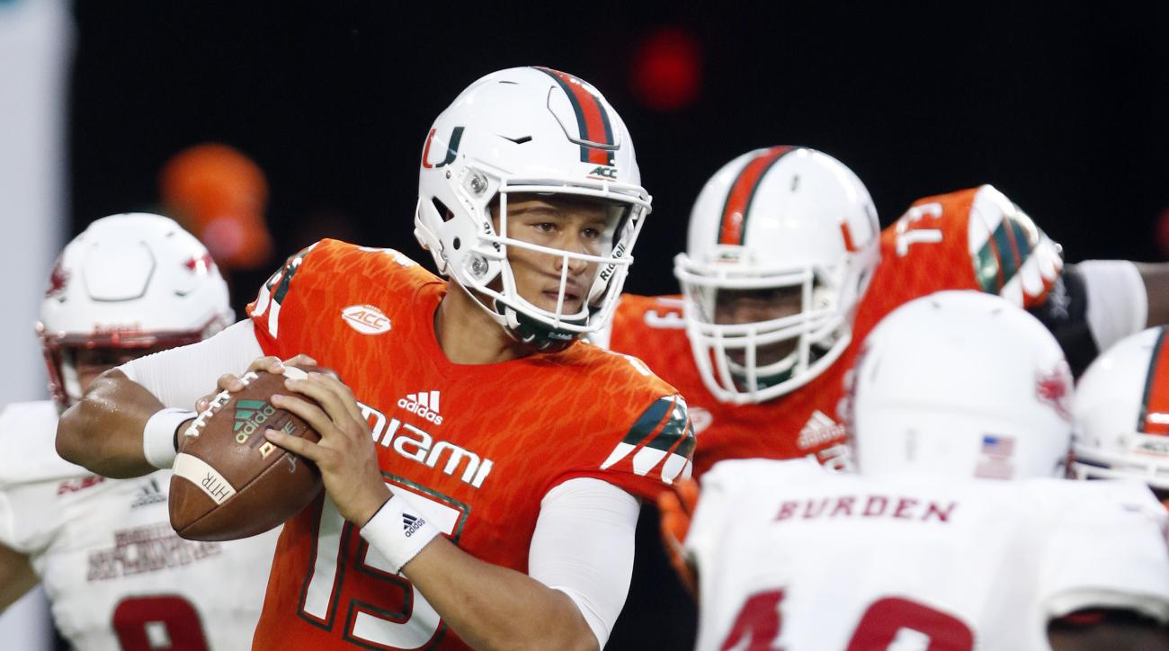 Miami quarterback Brad Kaaya (15) looks to pass against Florida Atlantic during the first half of an NCAA college football game, Saturday, Sept. 10, 2016, in Miami Gardens, Fla. (AP Photo/Alan Diaz)