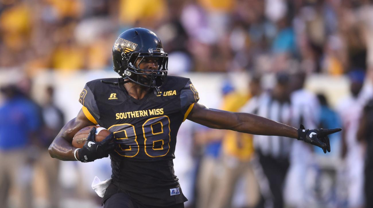 Southern Mississippi wide receiver Isaiah Jones runs in for a touchdown against Savannah State during an NCAA college football game Saturday, Sept. 10, 2016, in Hattiesburg, Miss. (Susan Broadbridge/Hattiesburg American via AP)
