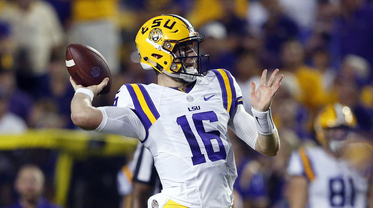 LSU quarterback Danny Etling (16) throws a touchdown pass to tight end DeSean Smith, not pictured, in the first half of an NCAA college football game in Baton Rouge, La., Saturday, Sept. 10, 2016. (AP Photo/Gerald Herbert)