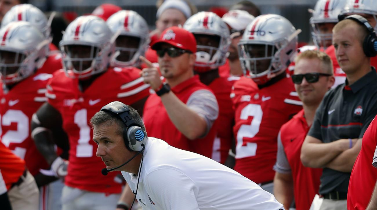 FILE - In this Sept. 3, 2016, file photo, Ohio State head coach Urban Meyer looks on from the sidelines during an NCAA college football game against Bowling Green in Columbus, Ohio. Meyer admittedly worries about everything, but near the top of the list t