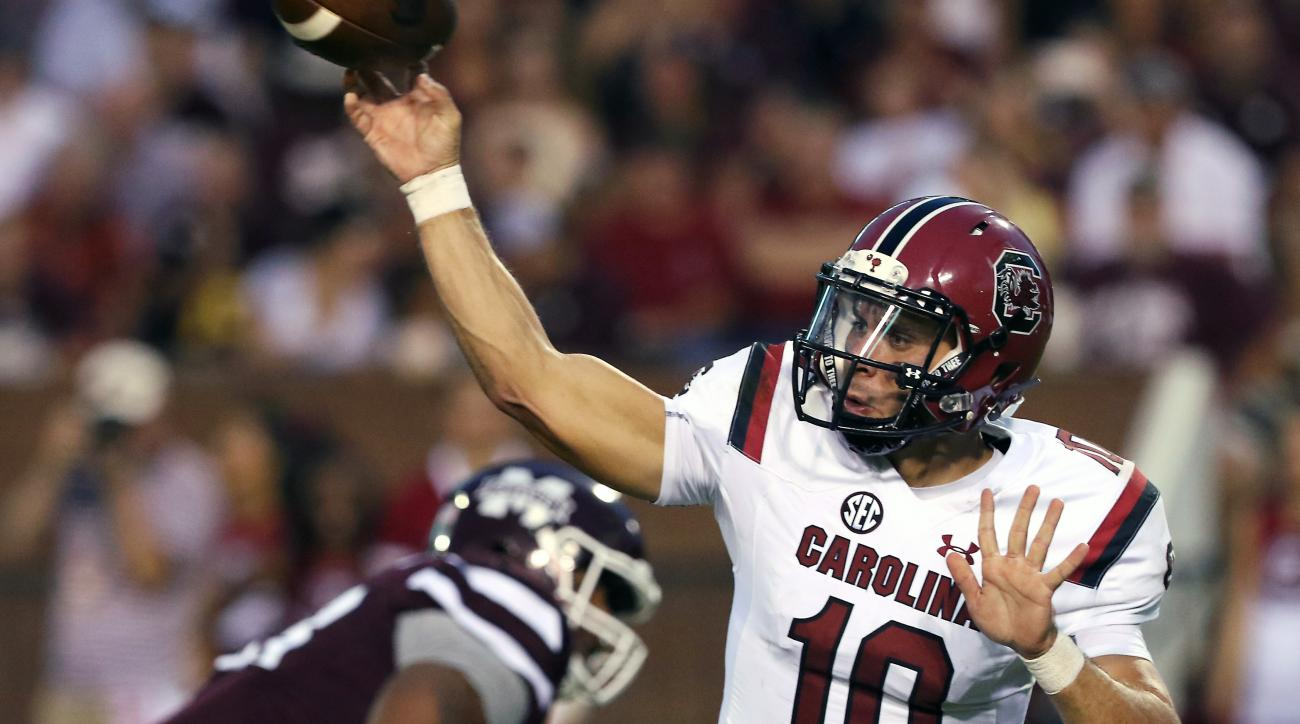 FILE - In this Sept. 10, 2016, file photo, South Carolina quarterback Perry Orth (10) throws the ball during the first half of their NCAA college football game against Mississippi State in Starkville, Miss., Saturday, Sept. 10, 2016. Senior Perry Orth has