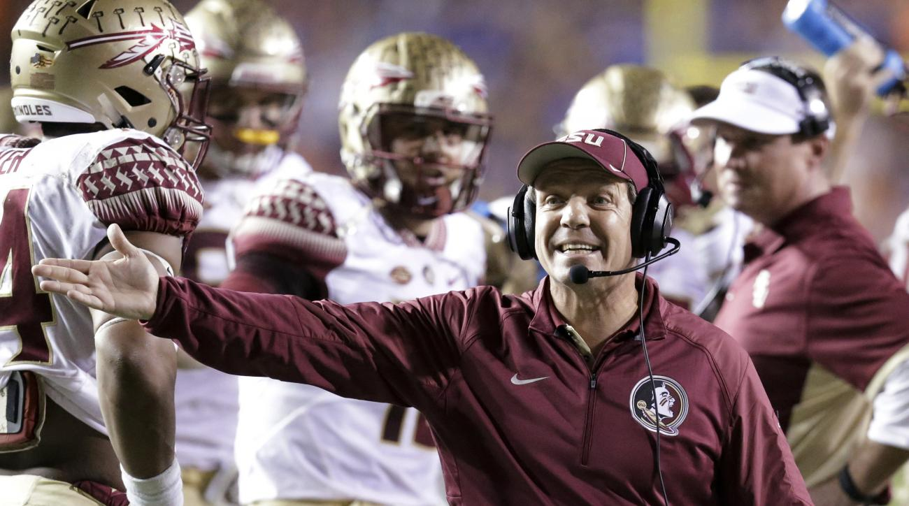 FILE - In this Nov. 28, 2015, file photo, Florida State coach Jimbo Fisher makes a plea to an official during the team's NCAA college football game against Florida in Gainesville, Fla. Florida State faces Louisville this week.  (AP Photo/John Raoux, File)