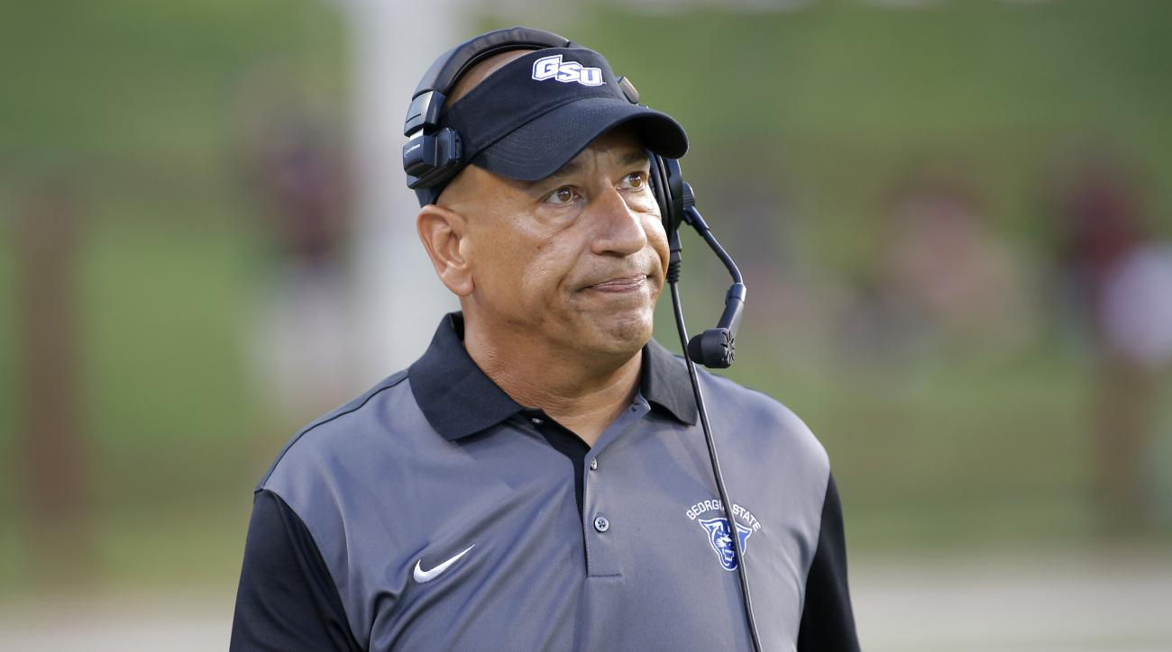 FILE - In this Sept. 12, 2015, file photo, Georgia State coach Trent Miles reacts from the sideline during the team's NCAA college football game against New Mexico State in Las Cruces, N.M. Miles has some experience in Wisconsin after having served as an