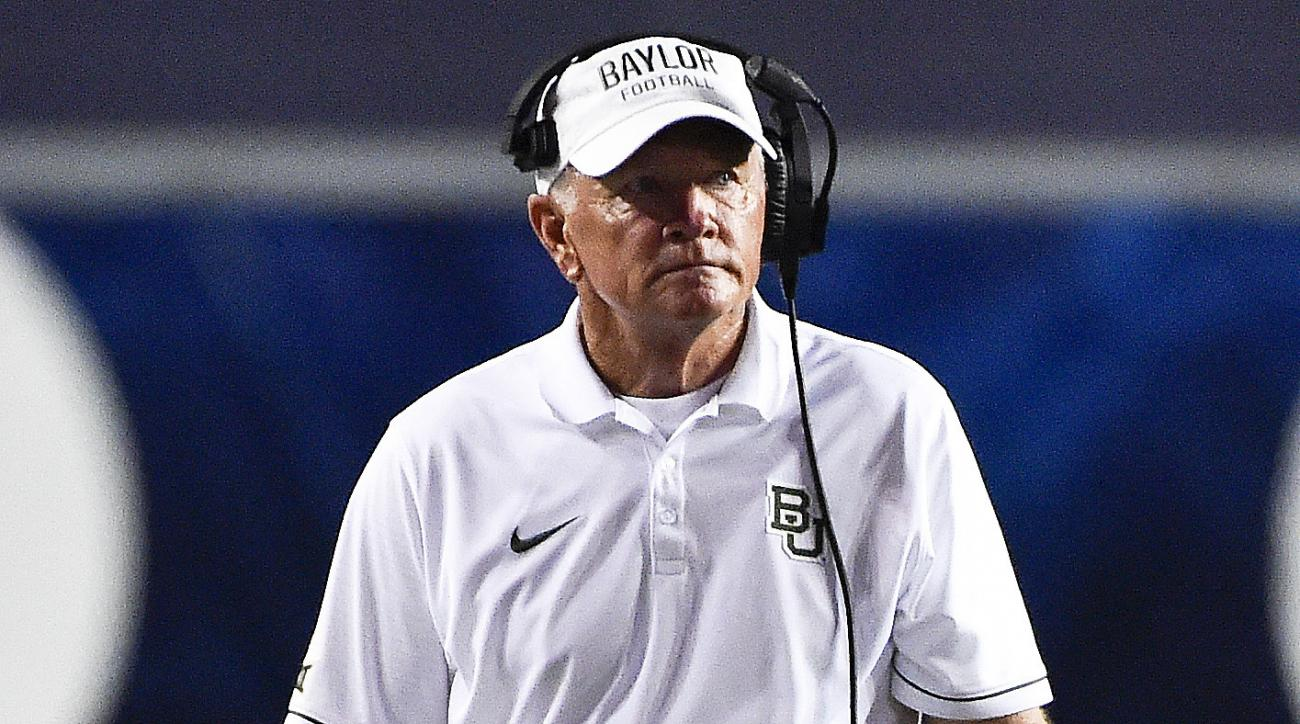Baylor head coach Jim Grobe walks on the field in the first half of an NCAA college football game against Rice, Friday, Sept. 16, 2016, in Houston. (AP Photo/Eric Christian Smith)