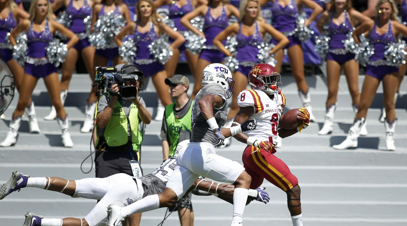 Iowa State wide receiver Deshaunte Jones (8) is chased out of bounds by TCU linebacker Sammy Douglas (35) and safety Markell Simmons in the second half of an NCAA college football game, Saturday, Sept. 17, 2016, in Fort Worth, Texas. TCU won 41-20. (AP Ph