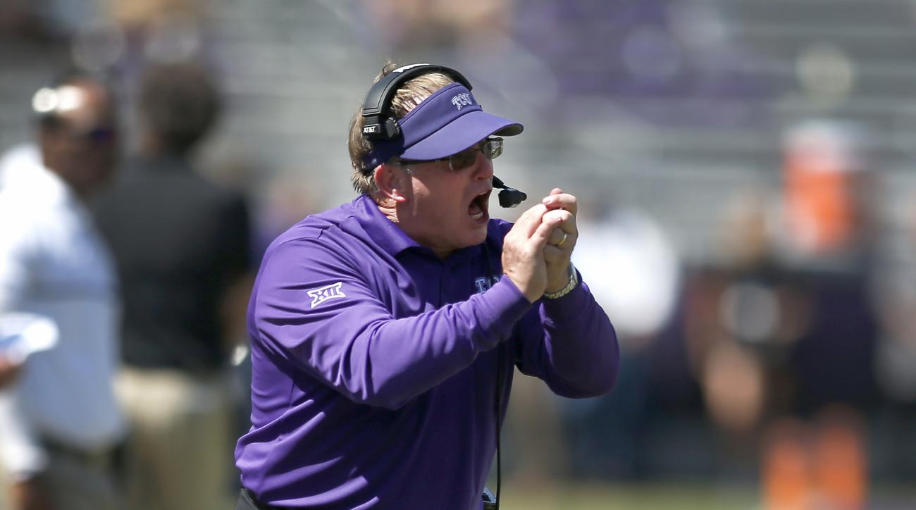 TCU head coach Gary Patterson yells to his payers in the second half of an NCAA college football game against Iowa State, Saturday, Sept. 17, 2016, in Fort Worth, Texas. TCU won 41-20. (AP Photo/Brad Loper)