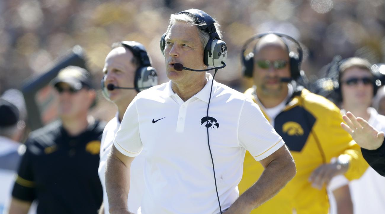 Iowa head coach Kirk Ferentz watches from the sidelines during the second half of an NCAA college football game against North Dakota State, Saturday, Sept. 17, 2016, in Iowa City, Iowa. North Dakota State won 23-21. (AP Photo/Charlie Neibergall)