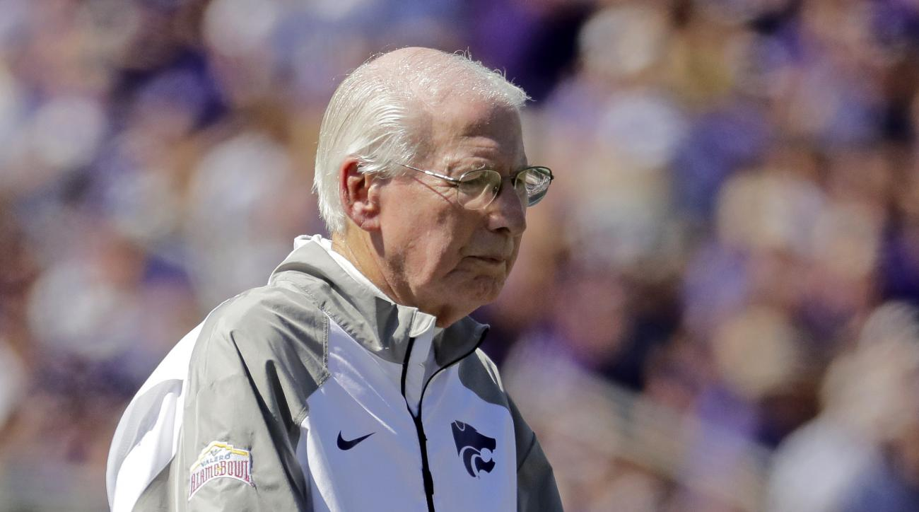 Kansas State head coach Bill Snyder watches during the first half of an NCAA college football game against Florida Atlantic Saturday, Sept. 17, 2016, in Manhattan, Kan. (AP Photo/Charlie Riedel)