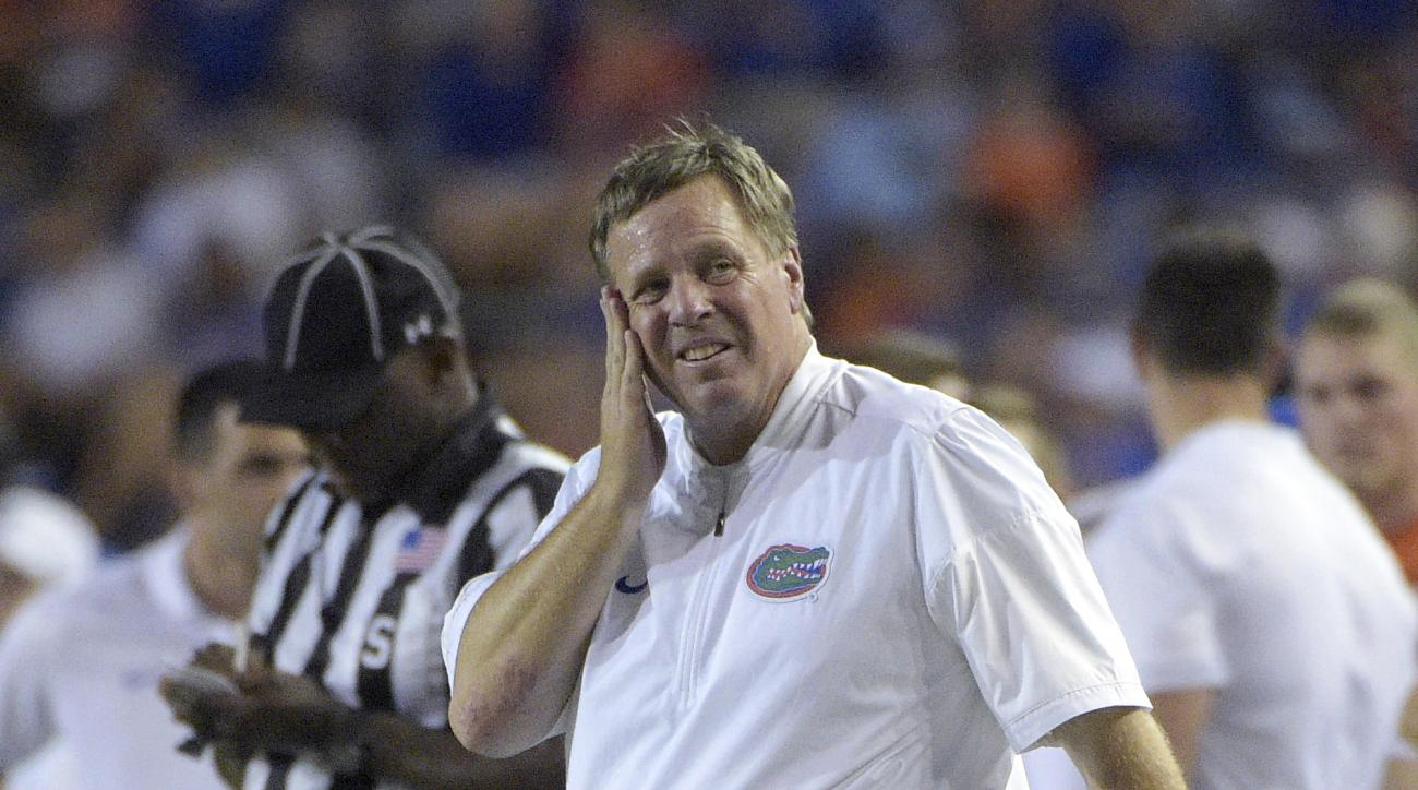 Florida coach Jim McElwain reacts on the sideline during a timeout in the first half of an NCAA college football game against North Texas in Gainesville, Fla., Saturday, Sept. 17, 2016. (AP Photo/Phelan M. Ebenhack)