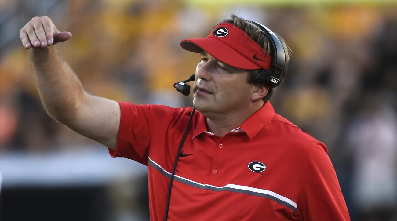 Georgia head coach Kirby Smart watches from the sidelines during the first half of an NCAA college football game against Missouri Saturday, Sept. 17, 2016, in Columbia, Mo. (AP Photo/L.G. Patterson)