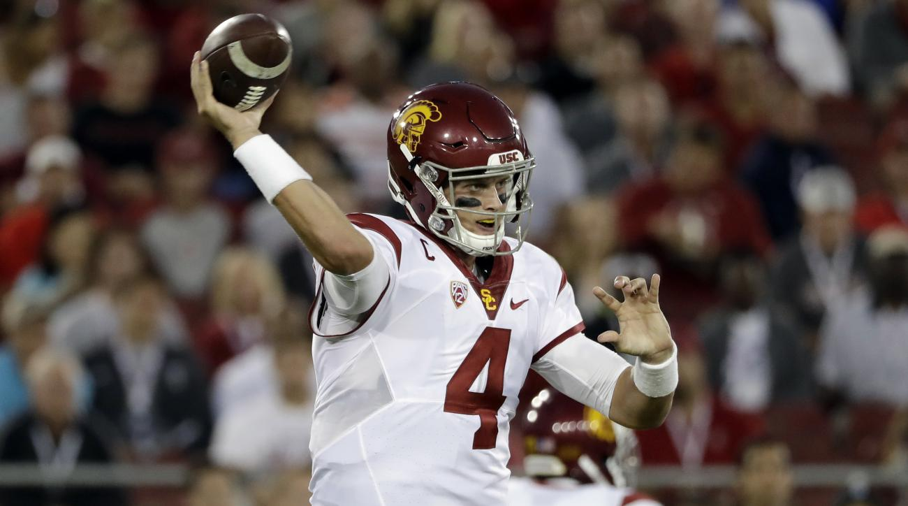 Southern California quarterback Max Browne (4) throws against Stanford during the second half of an NCAA college football game Saturday, Sept. 17, 2016, in Stanford, Calif. (AP Photo/Marcio Jose Sanchez)
