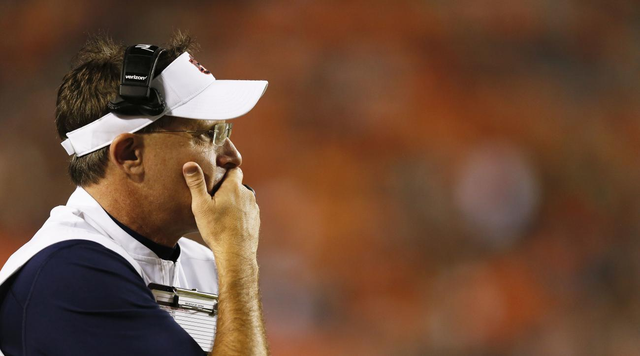 FILE - In this Sept. 17, 2016, file photo, Auburn head coach Gus Malzahn reflects after a lose against Texas A&M in the second half during an NCAA college football game in Auburn, Ala. A 1-2 start has Auburn and coach Gus Malzahn scrambling for answers be