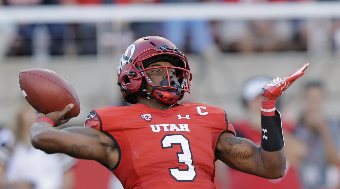 FILE - In this Sept. 10, 2016, file photo, Utah quarterback Troy Williams (3) passes down field against BYU in the first quarter during an NCAA college football game in Salt Lake City. The Utah offense has slowly progressed through three games, but now it