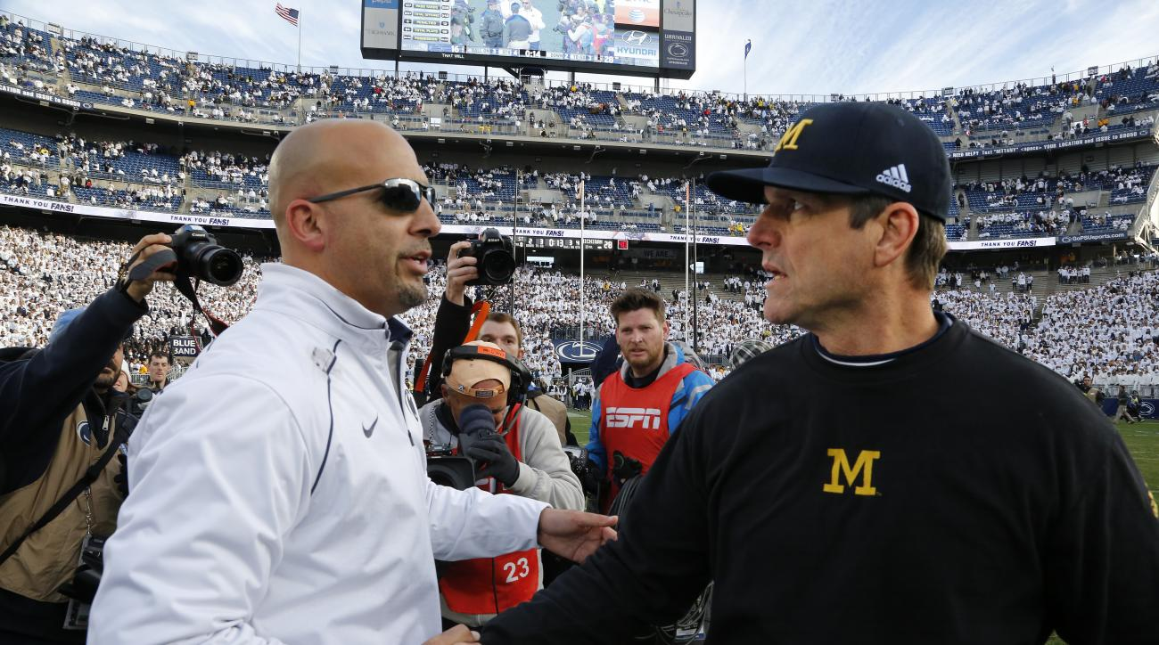 FILE - In this Nov. 21, 2015, file photo, Michigan head coach Jim Harbaugh, right shakes hands with Penn State head coach James Franklin after their NCAA college football game in State College, Pa Big Ten teams Penn State and No. 4 Michigan play Saturday,