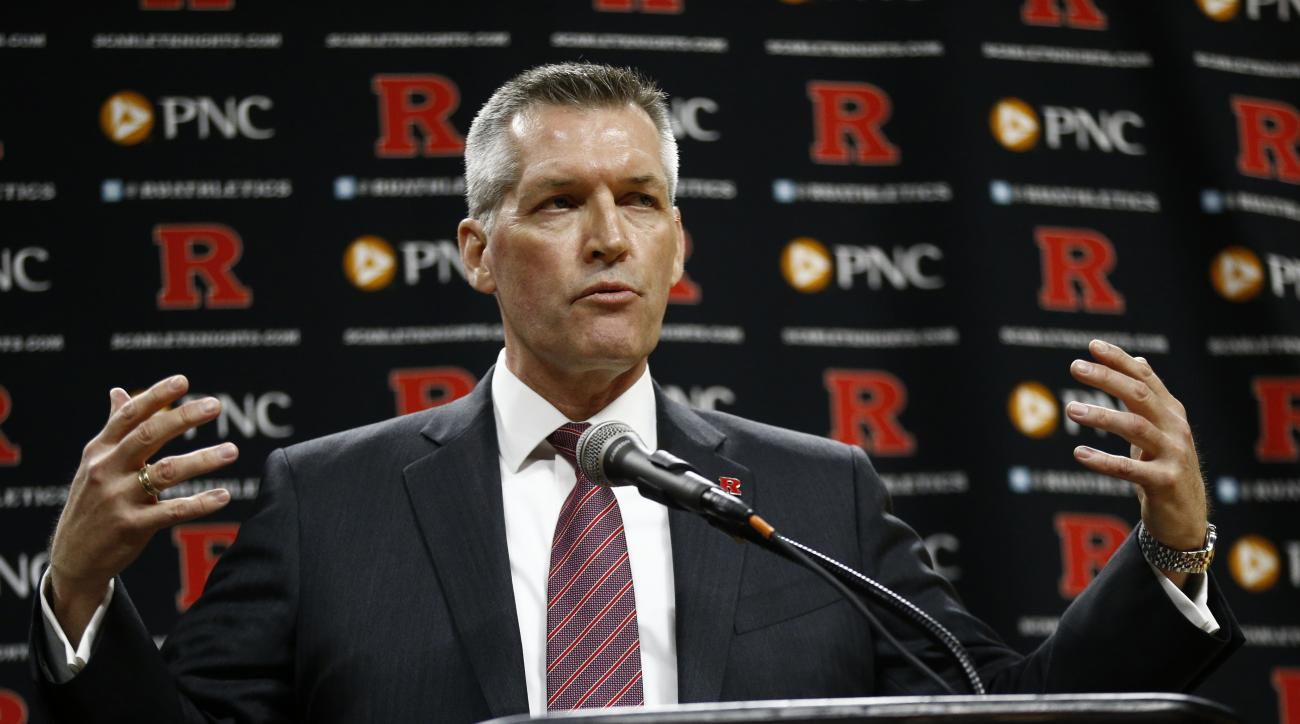 FILE - In this March 22, 2016, file photo, Rutgers University Athletic Director Patrick Hobbs speaks during a news conference announcing Steve Pikiell as the new head coach of the school's men's college basketball team in Piscataway, N.J. Hobbs apologized