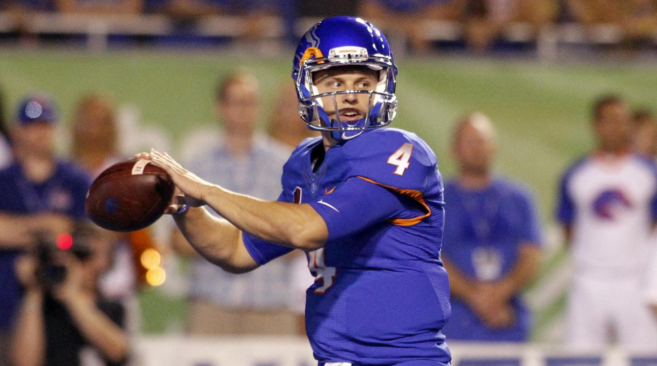FILE - In this Sept. 10, 2016, file photo, Boise State quarterback Brett Rypien (4) passes during the first half of an NCAA college football game against Washington State in Boise, Idaho. For Oregon State, this is a statement game. For Boise State, this c