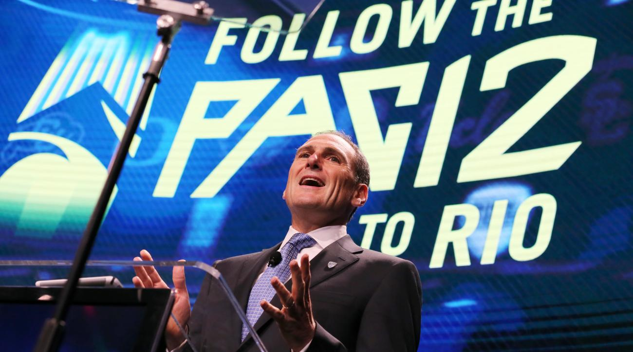 Pac-12 commissioner Larry Scott speaks at the Pac-12 NCAA college football media day in Los Angeles Thursday, July 14, 2016. (AP Photo/Reed Saxon)