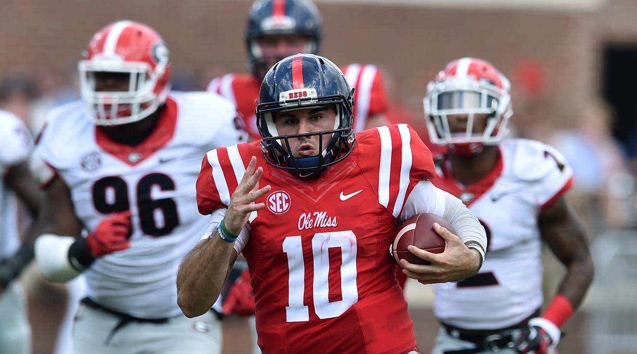 Mississippi quarterback Chad Kelly (10) runs in an NCAA college football game, Saturday, Sept. 24, 2016, in Oxford, Miss. Mississippi won 45-14. (Brant Sanderlin/Atlanta Journal-Constitution via AP)