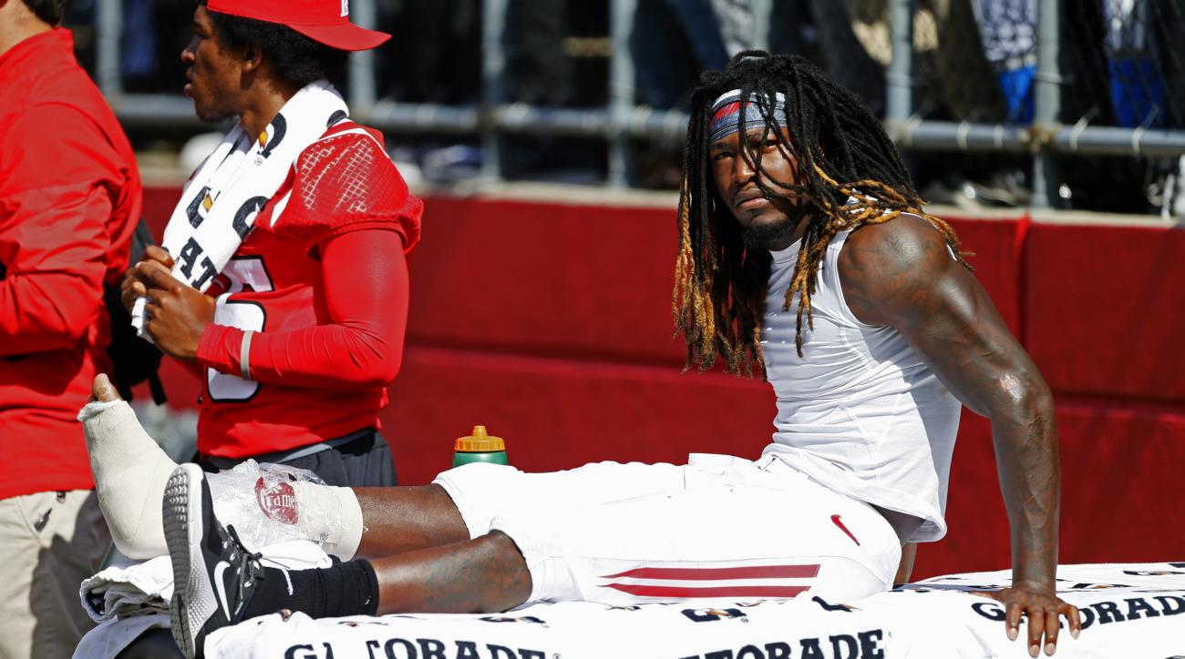 Rutgers wide receiver Janarion Grant (1) after injuring his right leg against Iowa during the second half of an NCAA college football game in Piscataway, N.J., Saturday, Sept. 24, 2016. (AP Photo/Noah K. Murray)