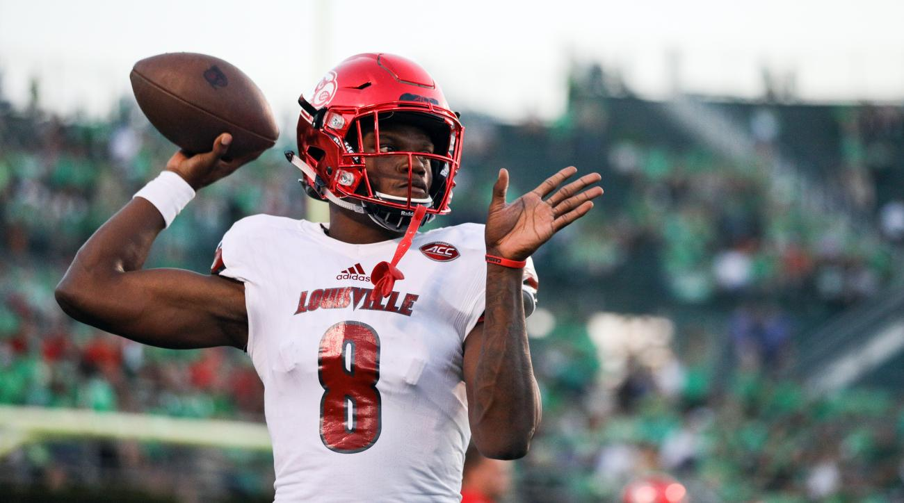 FILE - In this Saturday, Sept. 24, 2016, file photo, Louisville quarterback Lamar Jackson (8) warms up before an NCAA college football game against Marshall in Huntington, W. Va. Another Atlantic Division showdown, this time between No. 3 Louisville and N
