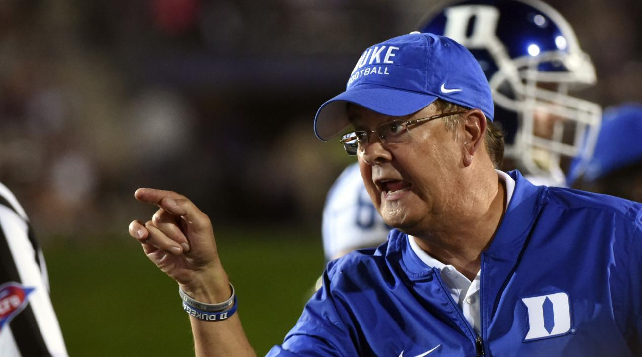 FILE - In this Sept. 17 2016 file photo, Duke head coach David Cutcliffe argues the incomplete pass call after Northwestern cornerback Montre Hartage (24) broke up a pass in the end zone thrown to Duke wide receiver Anthony Nash (83) during the second hal