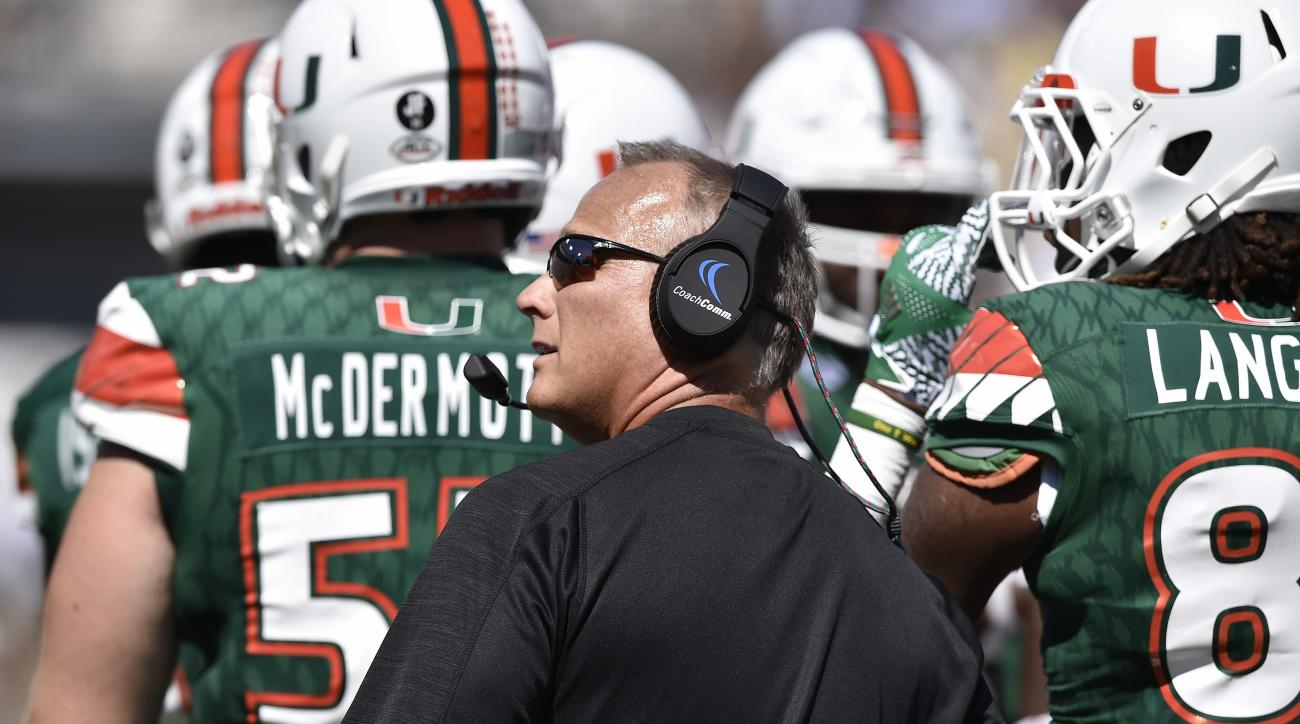 Miami head coach Mark Richt walks on the sidelines against Georgia Tech during the first half of an NCAA college football game, Saturday, Oct. 1, 2016, in Atlanta. (AP Photo/Mike Stewart)