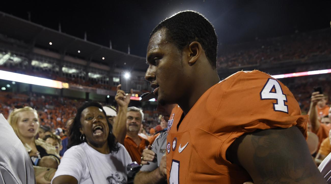 Clemson quarterback Deshaun Watson (4) walks off the field after Clemson defeated Louisville 42-36 in an NCAA college football game on Saturday, Oct. 1, 2016, in Clemson, S.C. (AP Photo/Rainier Ehrhardt)