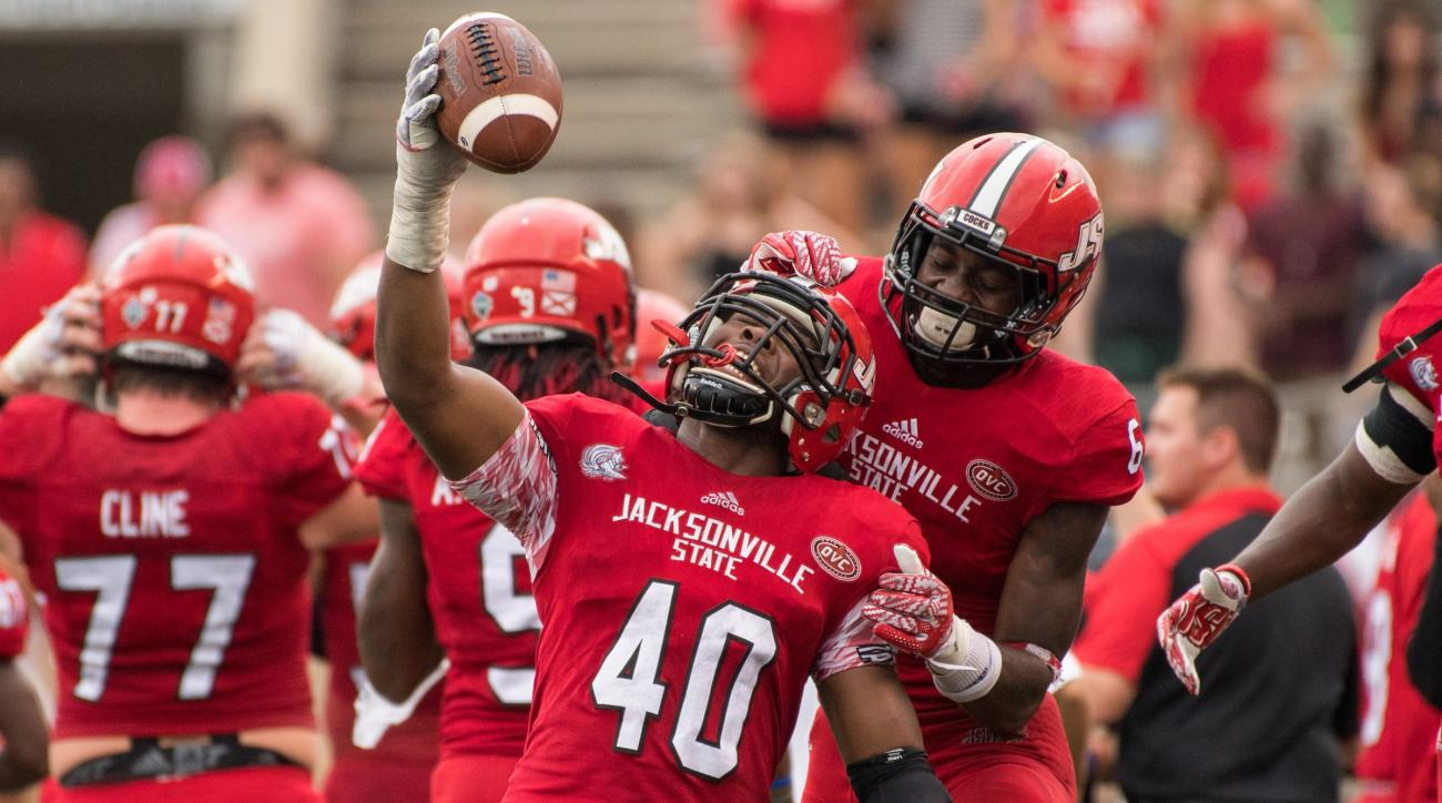 The Jacksonville State University football team defeated Coastal Carolina 27-26 at Burgess-Snow Field. Darius Jackson (40).
