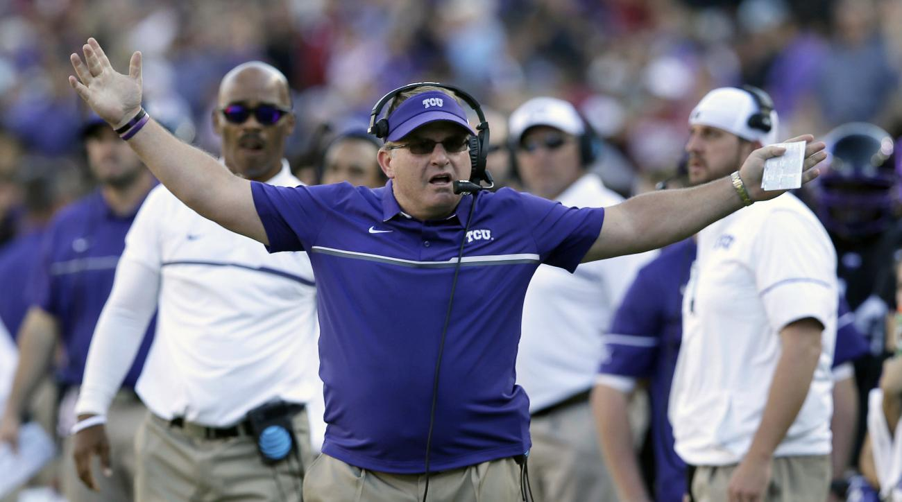"""FILE - In this Oct. 1, 2016, file photo, TCU head coach Gary Patterson reacts to a play during the first half of an NCAA college football game against Oklahoma, in Fort Worth, Texas. """"The worst job maybe in America right now is the defensive coordinator,"""