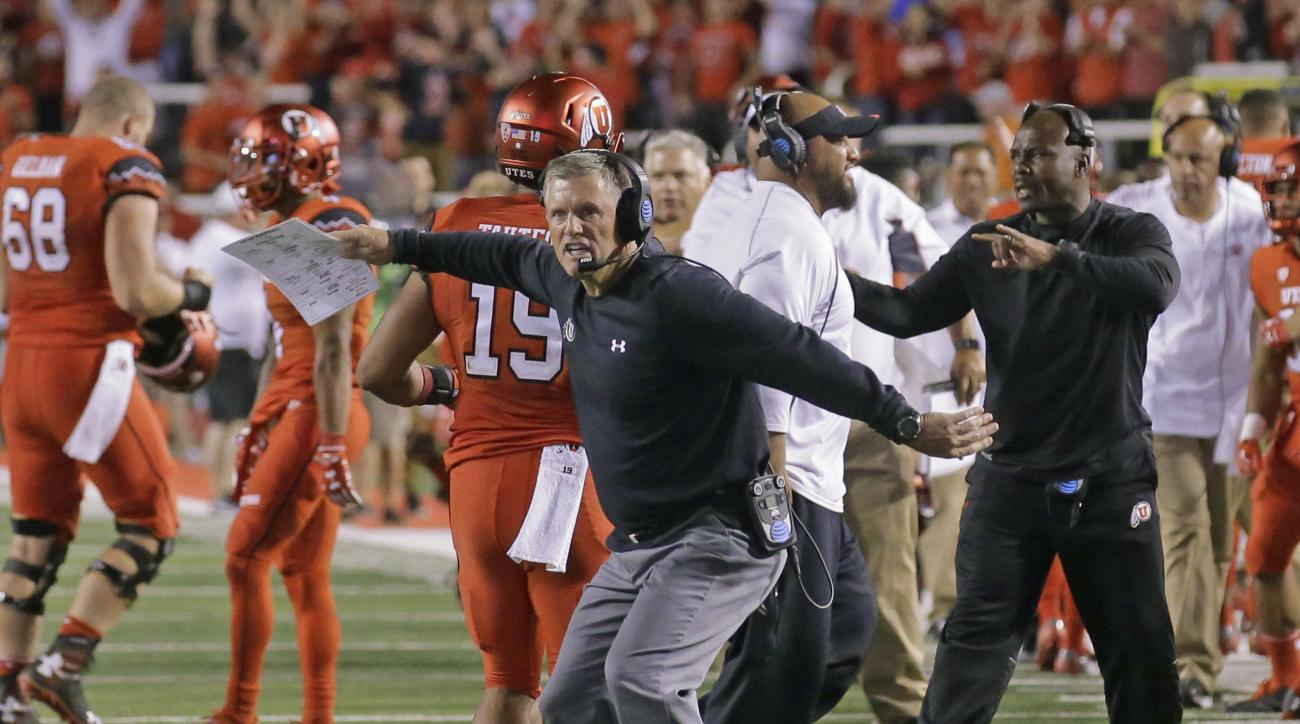 FILE- In this Sept. 10, 2016, file photo, Utah coach Kyle Whittingham reacts during the team's NCAA college football game against BYU in Salt Lake City. Whittingham hadnt thought of the fact that Arizonas Rich Rodriguez is the lone active Pac-12 coach he