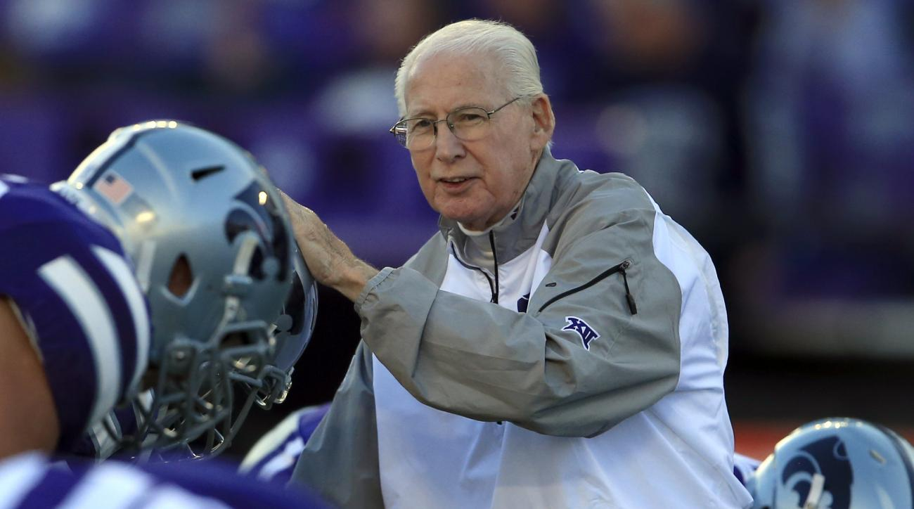 Kansas State head coach Bill Snyder greets players before an NCAA college football game against Texas Tech in Manhattan, Kan., Saturday, Oct. 8, 2016. (AP Photo/Orlin Wagner)