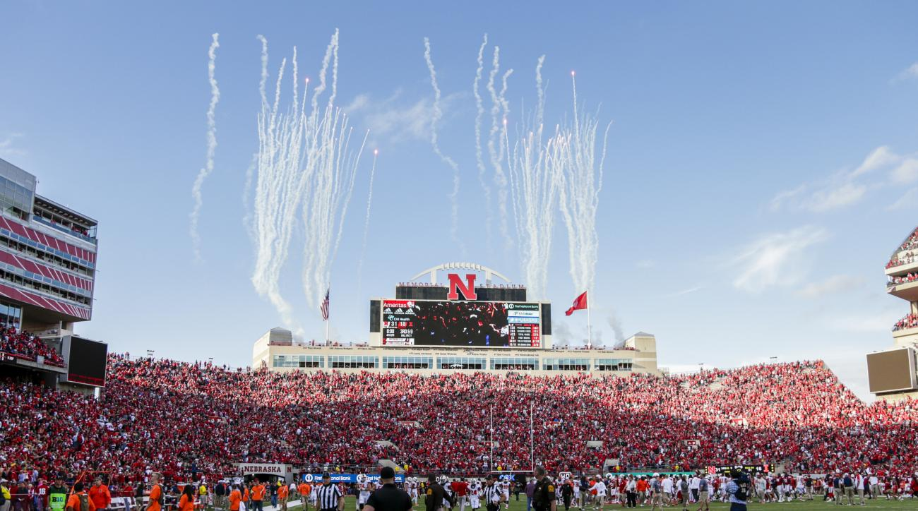 In this Oct. 1, 2016 photo, fireworks shoot up at Memorial Stadium following an NCAA college football game in which Nebraska defeated Illinois 31-16. Nebraska, which will be trying for its first 6-0 start since 2001 when it visits Indiana on Saturday, has