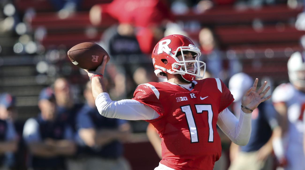 Rutgers quarterback Giovanni Rescigno (17) throws a pass during the second half of an NCAA college football game against Illinois, Saturday, Oct. 15, 2016, in Piscataway, N.J. Illinois won 24-7. (AP Photo/Mel Evans)