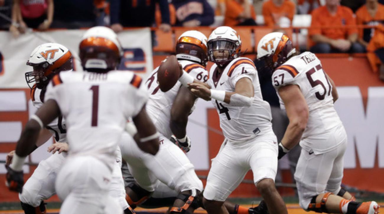 Virginia Tech quarterback Jerod Evans (4) passes during the first half of an NCAA college football game against Syracuse, Saturday, Oct. 15, 2016, in Syracuse, N.Y. (AP Photo/Mike Groll)