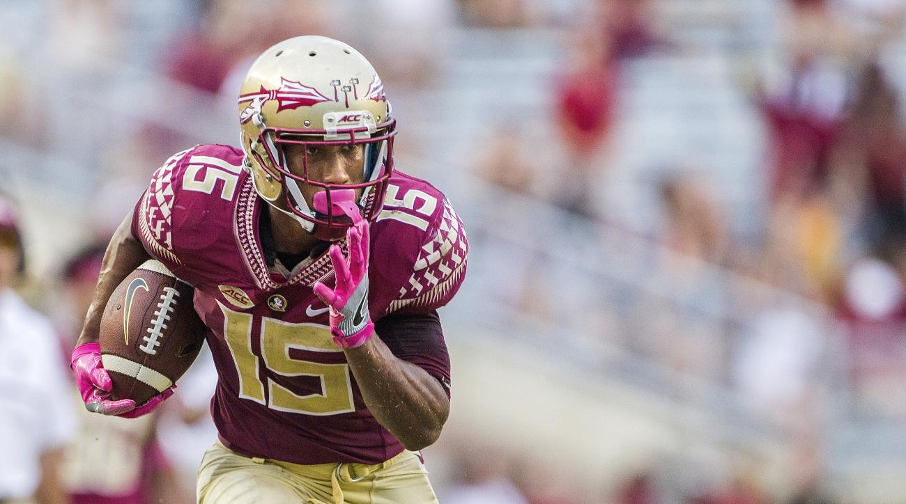Florida State wide receiver Travis Rudolph turns upfield after a reception in the second half of an NCAA college football game against Wake Forest in Tallahassee, Fla., Saturday, Oct. 15, 2016. (AP Photo/Mark Wallheiser)