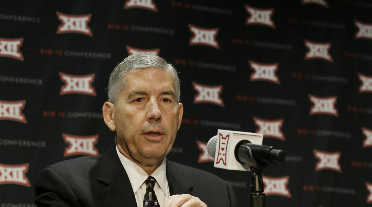 Big 12 Commissioner Bob Bowlsby speaks to reporter after The Big 12 Conference meeting in Grapevine, Texas, Monday, Oct. 17, 2016. The Big 12 Conference has decided against expansion from its current 10 schools after three months of analyzing, vetting and