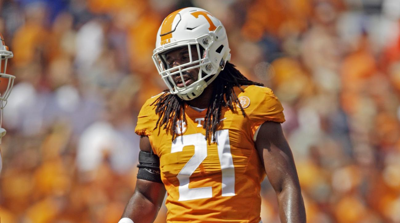 Tennessee linebacker Jalen Reeves-Maybin (21) is seen in the second half of an NCAA college football game against Ohio Saturday, Sept. 17, 2016, in Knoxville, Tenn. Tennessee won 28-19. (AP Photo/Wade Payne)