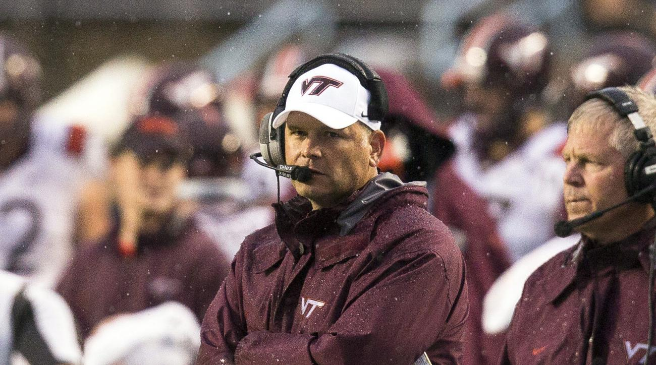 FILE - In this Saturday, Oct. 8, 2016, file photo, Virginia Tech head coach Justin Fuente watches from the sidelines during an NCAA college football game against North Carolina in Chapel Hill, N.C. Virginia Tech  faces longtime rival Miami on Thursday nig