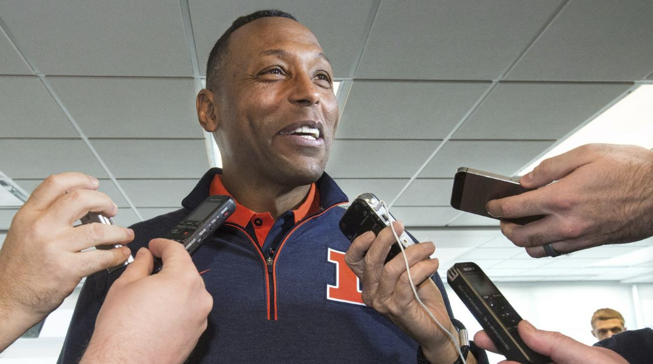 FILE - In this March 29, 2016, file photo, Illinois' defensive coordinator Hardy Nickerson speaks with the media at an NCAA college football press conference at Memorial Stadium in Champaign, Ill. When Nickerson's son Hardy decided to follow his father to