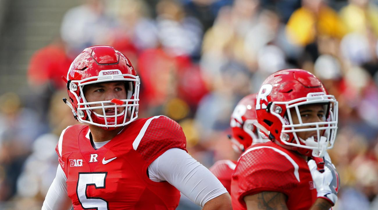 FILE - In this Sept. 24, 2016, file photo, Rutgers quarterback Chris Laviano (5) looks at scoreboard during second half of an NCAA college football game against Iowa. Laviano started 18 straight games before getting benched in the second half against Illi