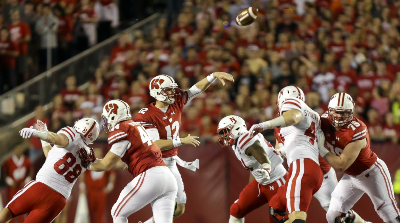 Wisconsin quarterback Alex Hornibrook (12) passes against Nebraska during the first half of an NCAA college football game Saturday, Oct. 29, 2016, in Madison, Wis. (AP Photo/Andy Manis)