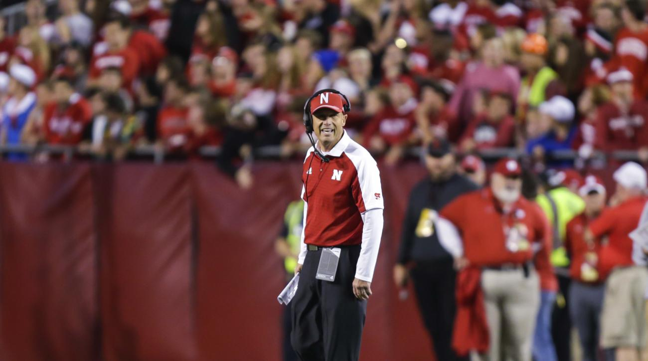 Nebraska coach Mike Riley yells from the sideline during the first half of  the team's NCAA college football game against Wisconsin on Saturday, Oct. 29, 2016, in Madison, Wis. Wisconsin won 23-17 in overtime. (AP Photo/Andy Manis)