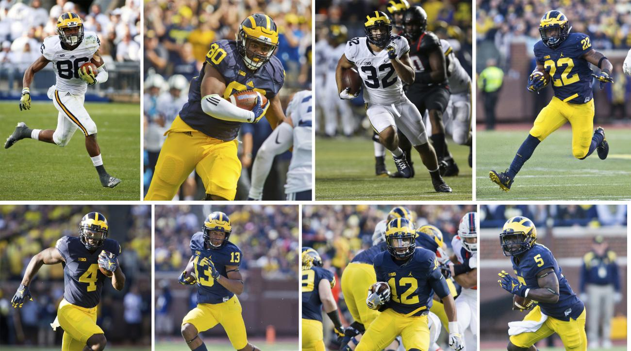 FILE - From top left are Michigan wide receiver Jehu Chesson (86), tight end Khalid Hill (80), running back Ty Isaac (32) and running back Karan Higdon (22). Bottom from left are Michigan running back De'Veon Smith (4), wide receiver Eddie McDoom (13), ru