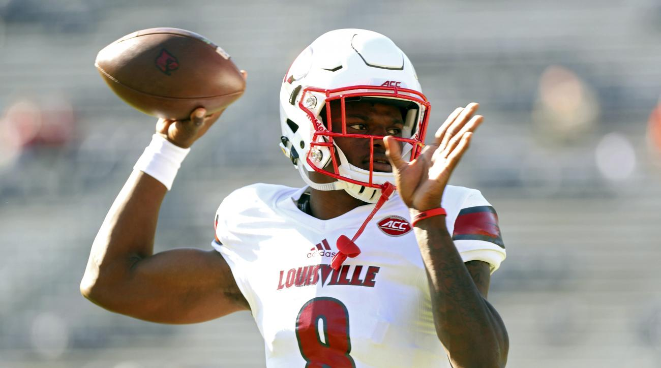 FILE - In a Saturday, Oct. 29, 2016 file photo, Louisville quarterback Lamar Jackson (8) throws a pass during warmups before an NCAA college football game against Virginia in Charlottesville, Va. Jackson has become one of college footballs most recognizab