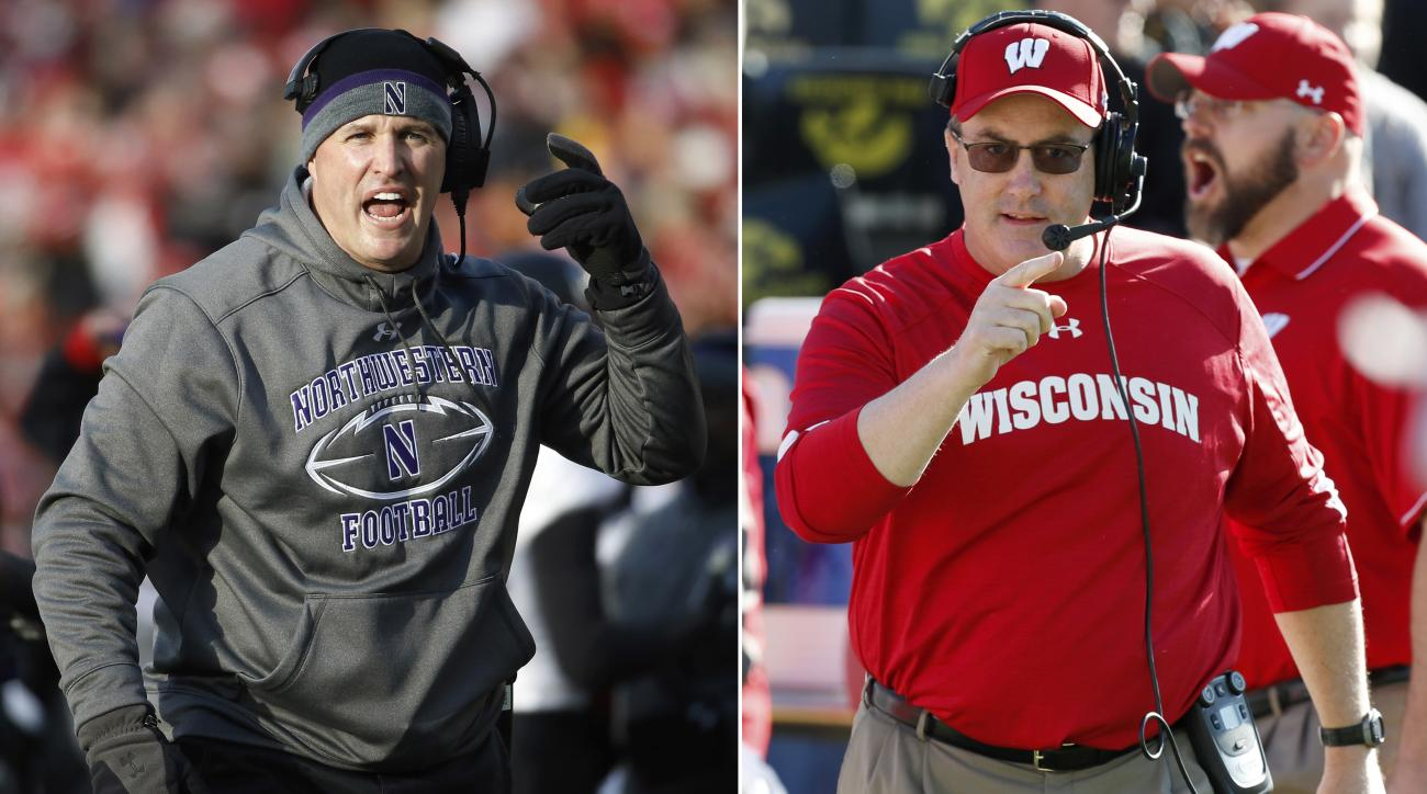 FILE - At left, in a Nov. 21, 2015, file photo, Northwestern head coach Pat Fitzgerald gestures during the first half of an NCAA college football game against Wisconsin, in Madison, Wis. At right, in an Oct. 22, 2016, file photo, Wisconsin head coach Paul