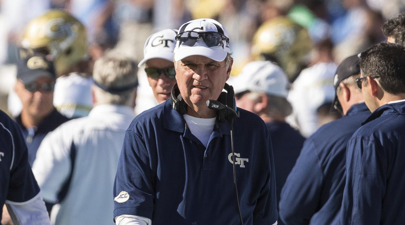 Georgia Tech head coach Paul Johnson paces the sidelines during an NCAA college football game against North Carolina in Chapel Hill, N.C., Saturday, Nov. 5, 2016. North Carolina beat Georgia Tech 48-20. (AP Photo/Ben McKeown)
