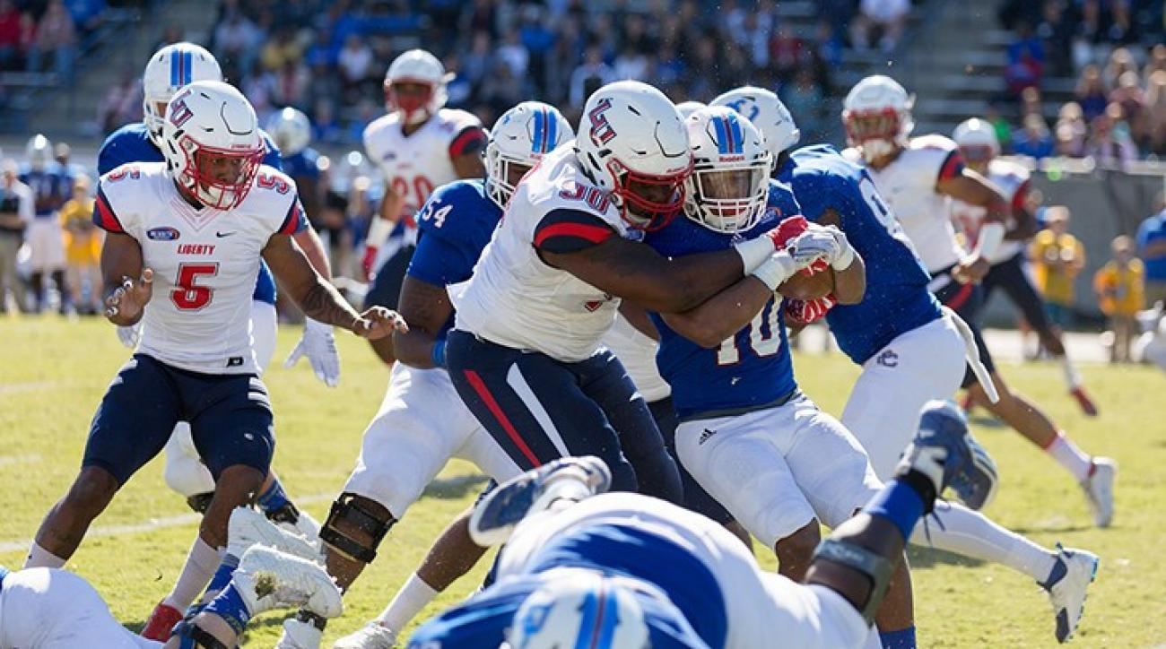 The Liberty University Football team takes on Presbyterian College at Bailey Memorial Stadium in Clinton, South Carolina on November 5, 2016. (Photo by Joel Coleman)
