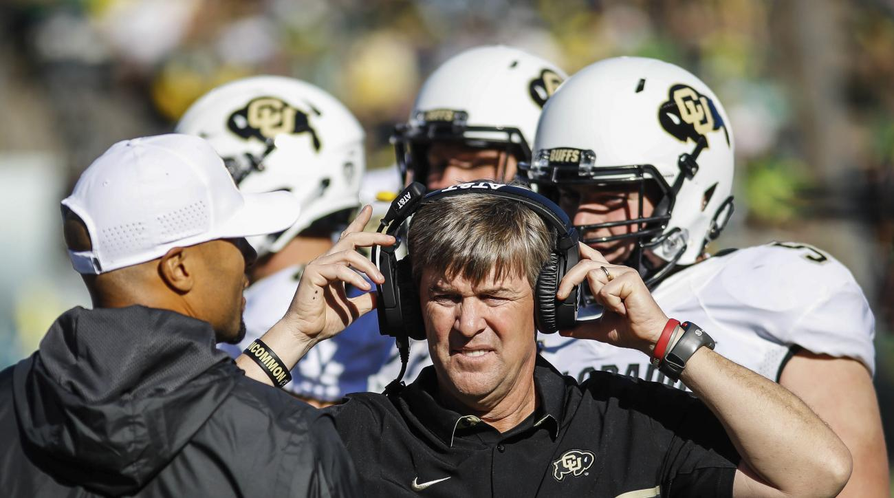 FILE - In this Sept. 24, 2016, file photo, Colorado coach Mike MacIntyre stands on the sideline during the team's NCAA college football game against Oregon in Eugene, Ore. Colorado plays Arizona this Saturday. No. 16 Colorado is relatively healthy, alread